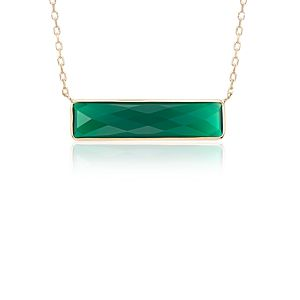 NEW Green Agate Bar Necklace in 14k Yellow Gold