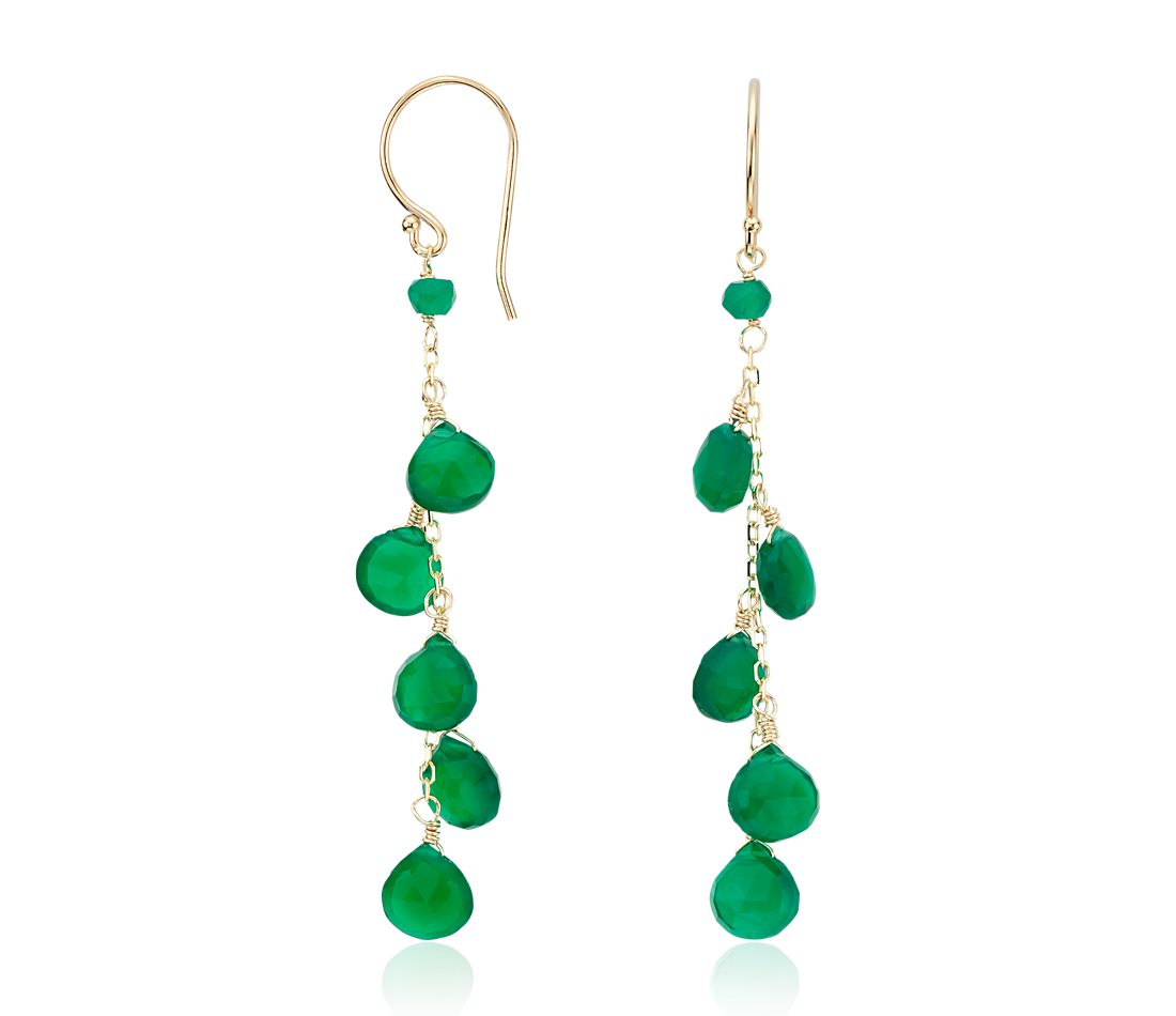 Green Agate Dangle Earrings in 14k Yellow Gold (7mm)