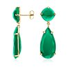 Green Agate Drop Earrings in Gold Vermeil