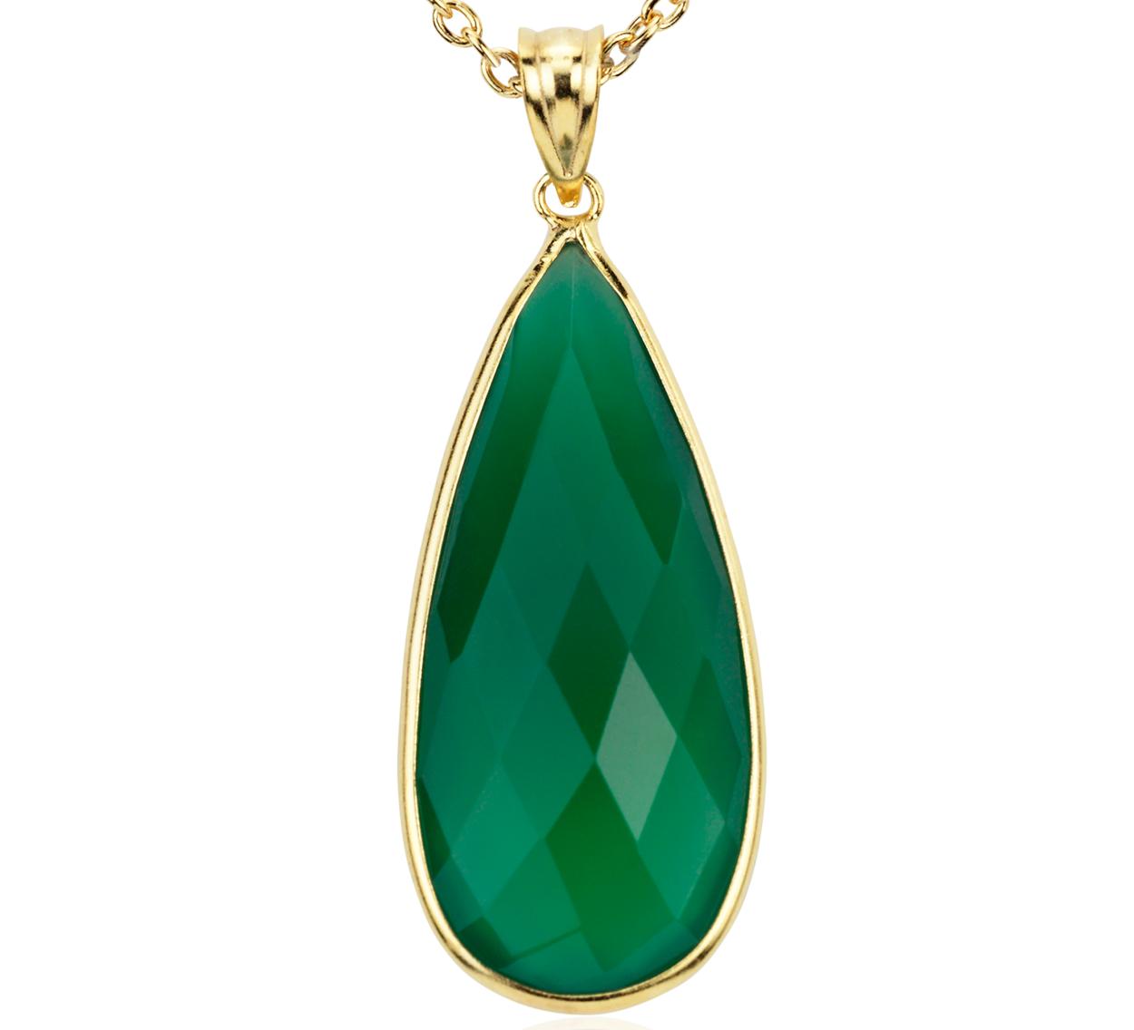 Pendentif en onyx vert en or vermeil