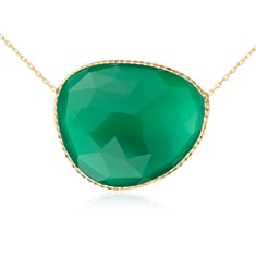 Green Agate Sliced Necklace in Or vermeil
