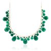 Green Agate Statement Necklace in 14k Yellow Gold