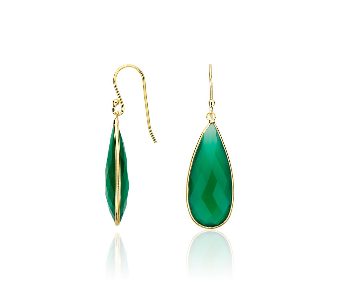 Green Onyx Teardrop Earrings in Gold Vermeil