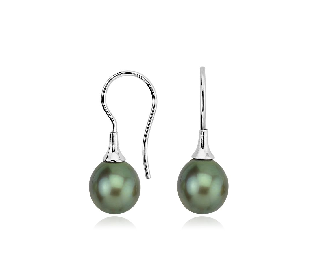 Green Freshwater Cultured Pearl Drop Earrings in Sterling Silver