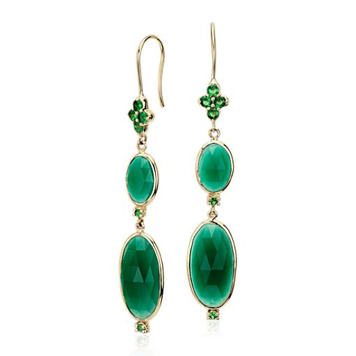 NEW Frances Gadbois Green Onyx Double Oval Drop Earrings in 14k Yellow Gold (16x8mm)