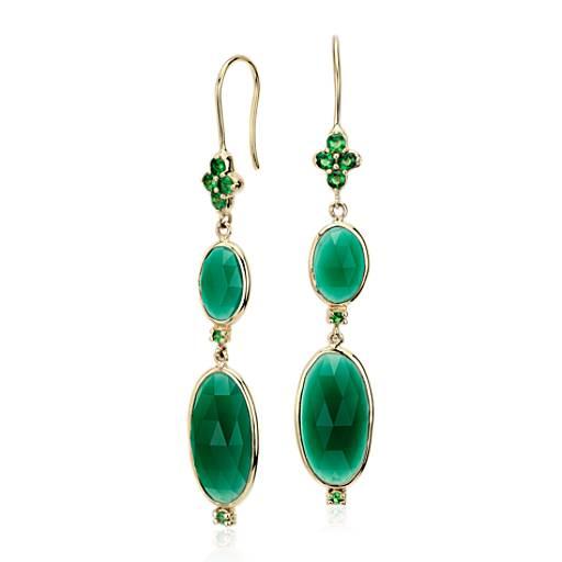 Frances Gadbois Pendants d'oreille onyx vert à double ovale en or jaune 14carats (16x8mm)
