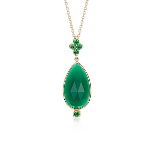 Frances Gadbois Green Onyx & Tsavorite Pendant in 14k Yellow Gold (18x10mm)
