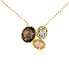 Green Quartz, Smoky Quartz, and Citrine Necklace in Gold Vermeil