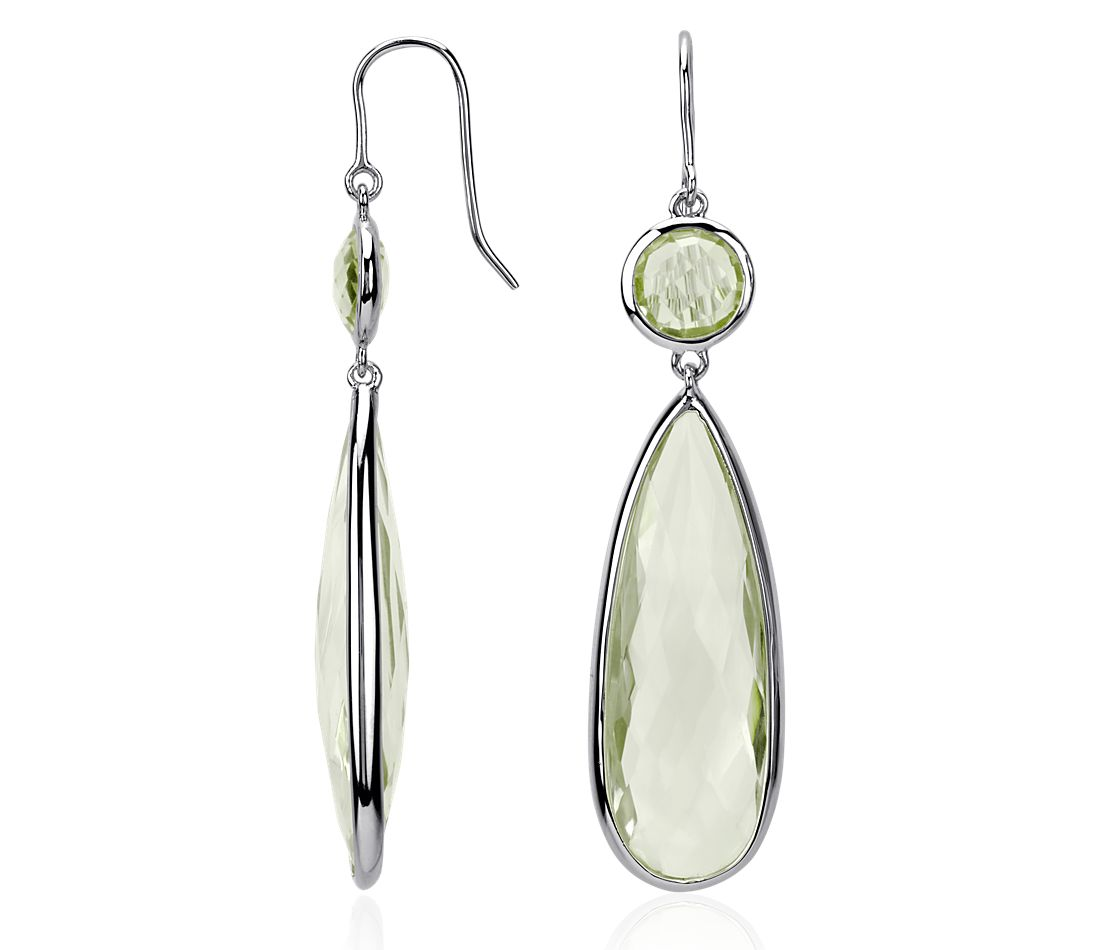 Green Quartz Drop Earrings in Sterling Silver