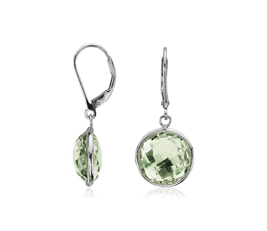 Boucles d'oreilles quartz vert à facettes en argent sterling