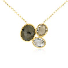 Green Amethyst, White Quartz, and Labradorite Necklace in 18k Yellow Gold Vermeil