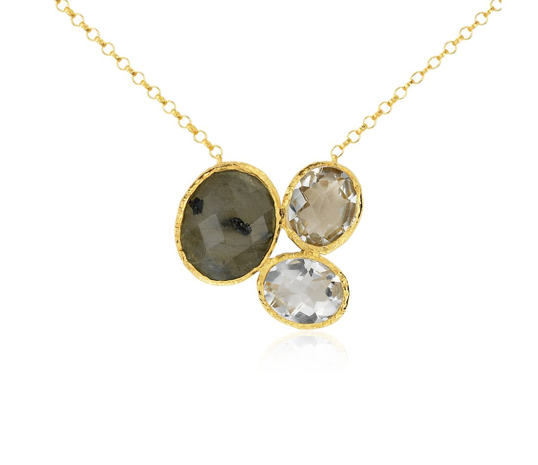 Green Quartz, White Quartz, and Labradorite Necklace in Gold Vermeil
