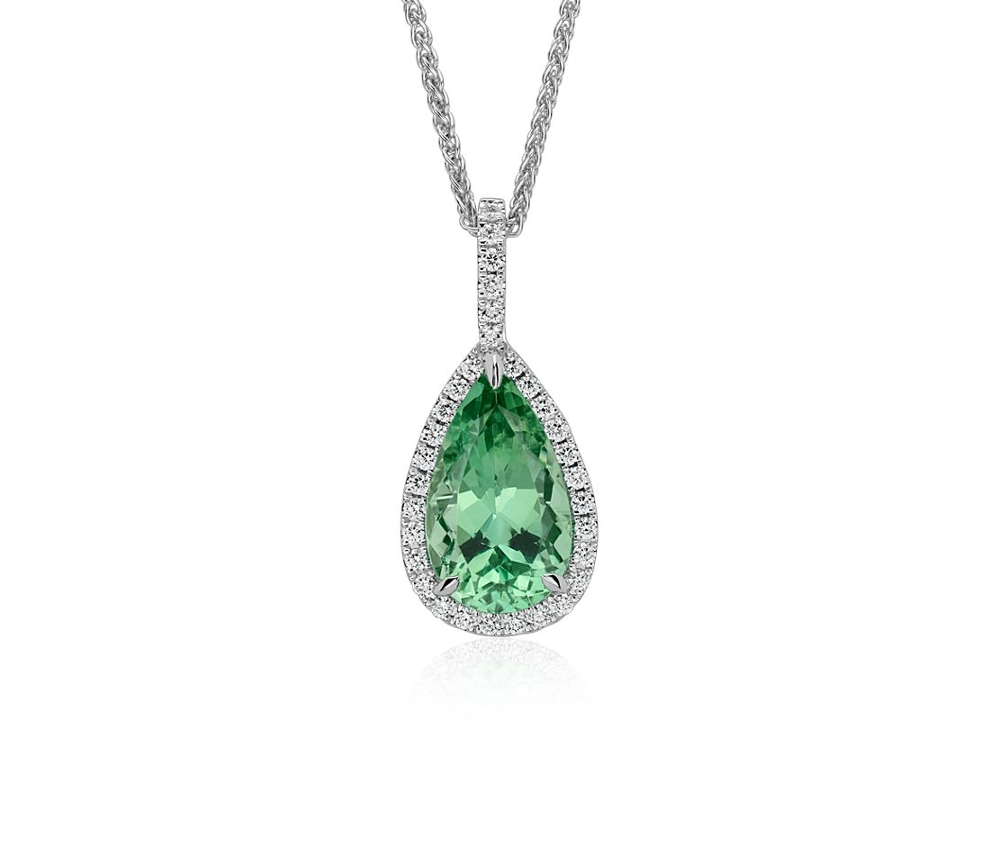 Pear-Shaped Green Tourmaline and Diamond Halo Pendant in 18k White Gold (6.32 cts.)