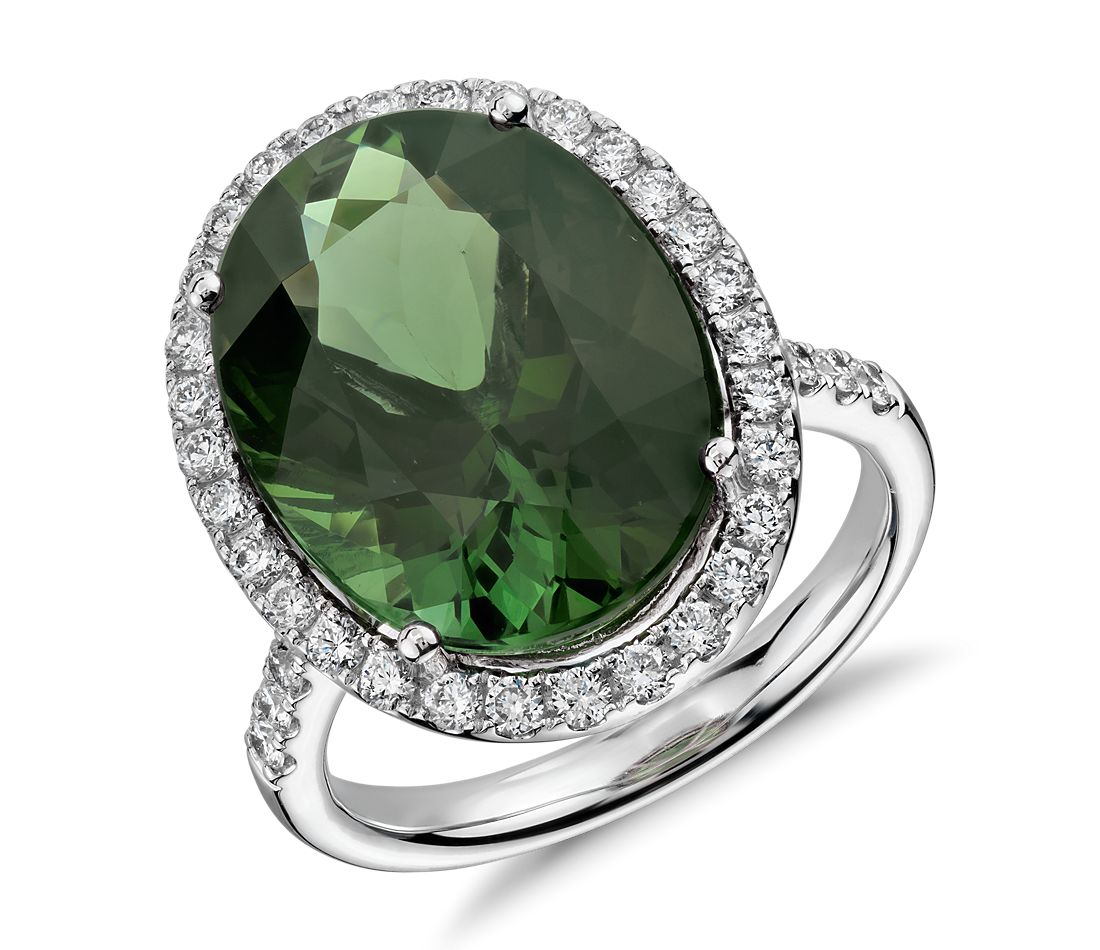 Green Tourmaline and Diamond Halo Ring in 18k White Gold