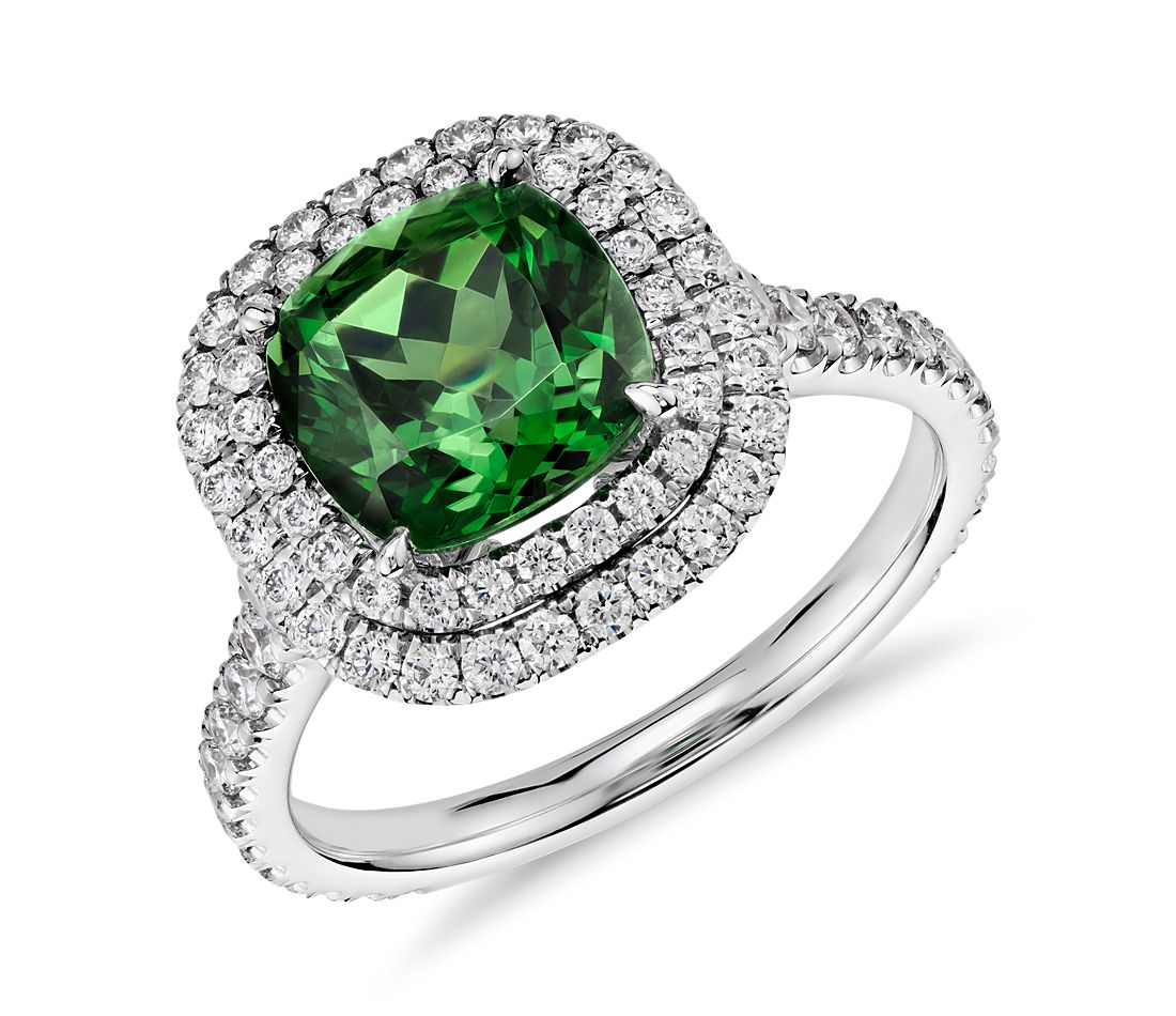 Green Tourmaline and Micropavé Diamond Double Halo Ring in 18k White Gold (3.77 cts)