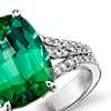 Green Tourmaline and Micropavé Diamond Ring in 18k White Gold