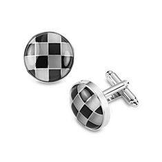 Grey Checkerboard Cuff Links