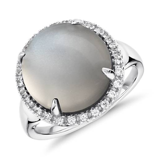 Gray Moonstone and White Topaz Round Ring in Sterling Silver (13mm)