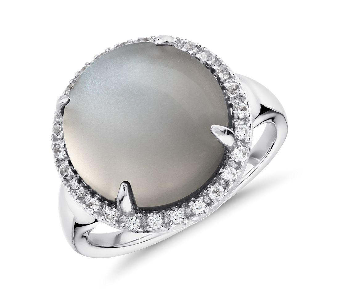 Anillo redondo con piedra lunar gris y topacio blanco en plata de ley (13mm)