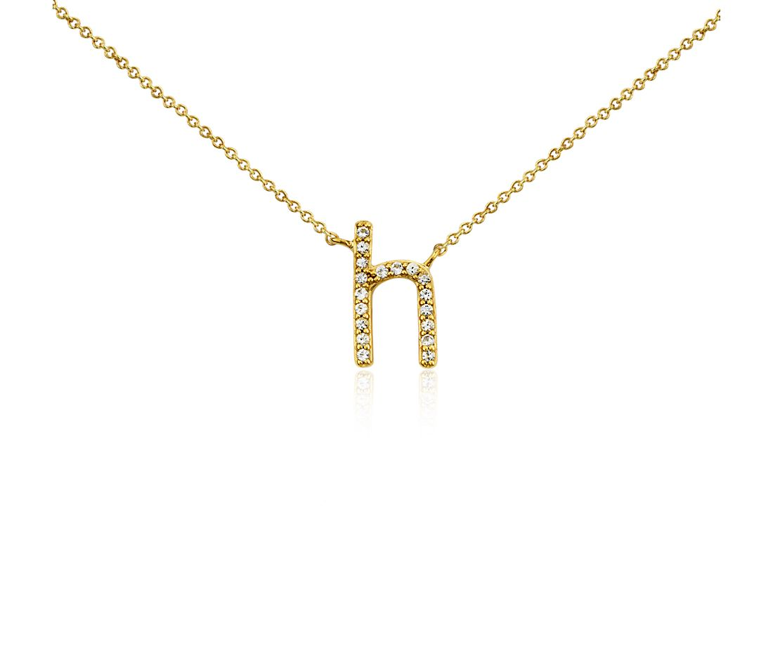"""H"" White Sapphire Mini Initial Necklace in Gold Vermeil"