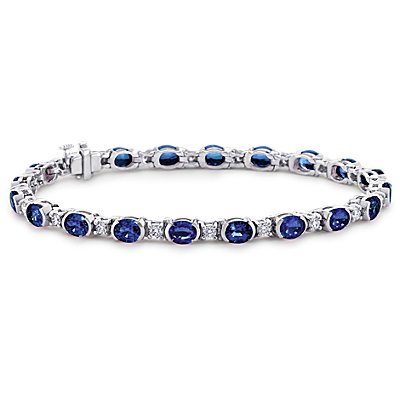 Oval Sapphire and Diamond Semi-Bezel-Set Bracelet in 18k White Gold (5x4mm)