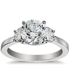 Half Moon Diamond Engagement Ring in Platinum