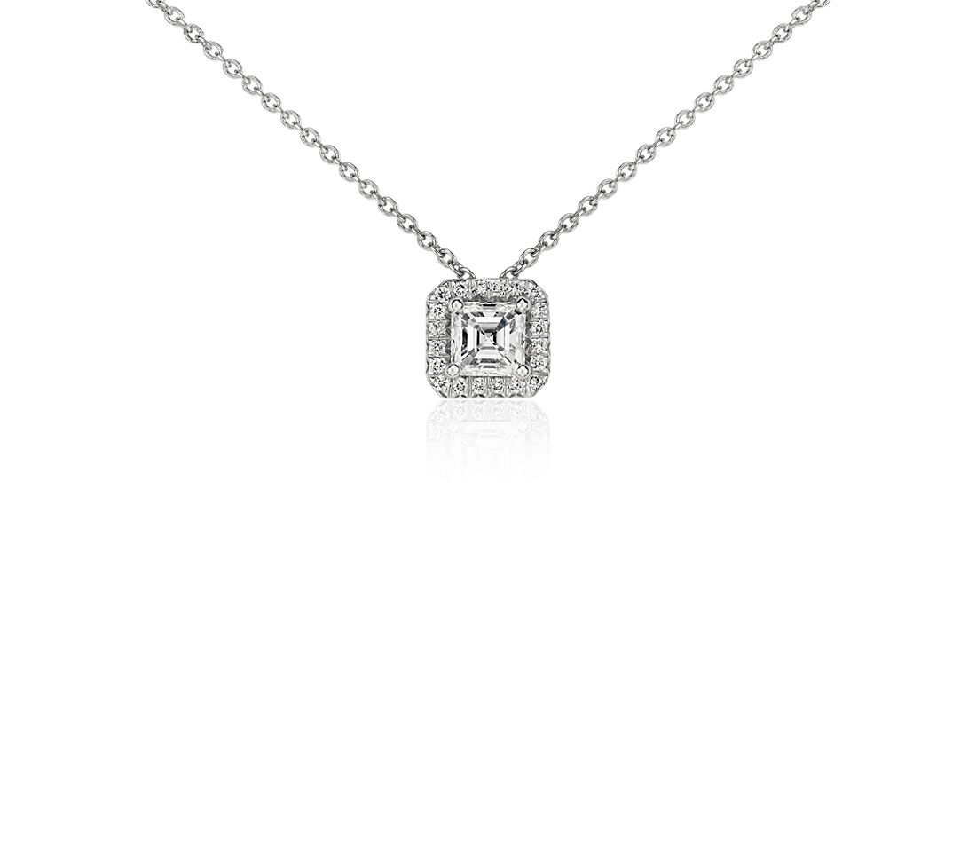 Asscher-Cut Diamond Halo Pendant in Platinum (1/2 ct. tw.)