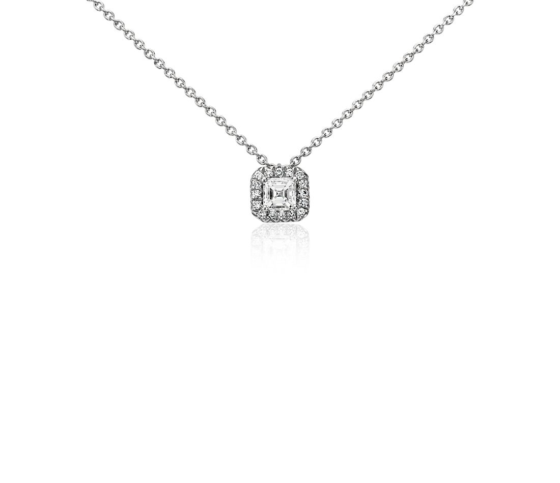 Halo Asscher-Cut Diamond Pendant in Platinum (1/3 ct. tw.)