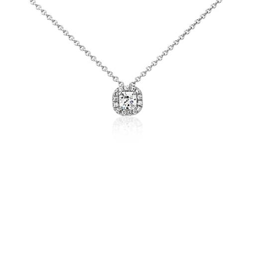 Halo Cushion-Cut Diamond Pendant in Platinum (1/3 ct. tw.)