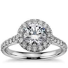 Round Halo Diamond Engagement Ring in 14k White Gold (1/2 ct. tw.)