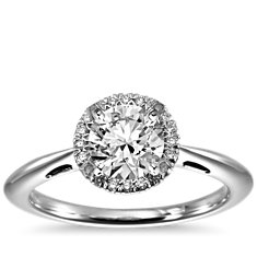 Halo Diamond Engagement Ring in 18k White Gold (1/10 ct. tw.)