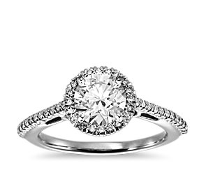 Halo Diamond Engagement Ring in 18k White Gold (1/5 ct. tw.)