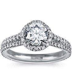 Halo Diamond Engagement Ring in Platinum (1/5 ct. tw.)
