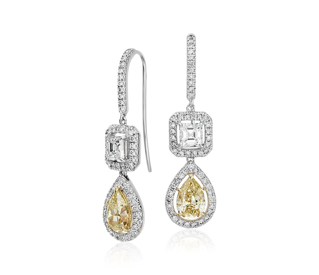 Fancy Halo Double Diamond Drop Earrings in 18k White Gold (3.71 ct. tw.)