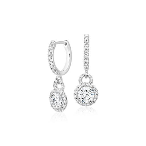 Diamond Halo Drop Earrings  in 14k White Gold (1 ct. tw.)