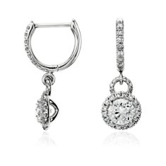 Pendants d'oreilles diamant halo en Or blanc 14 ct (1 carat, poids total)