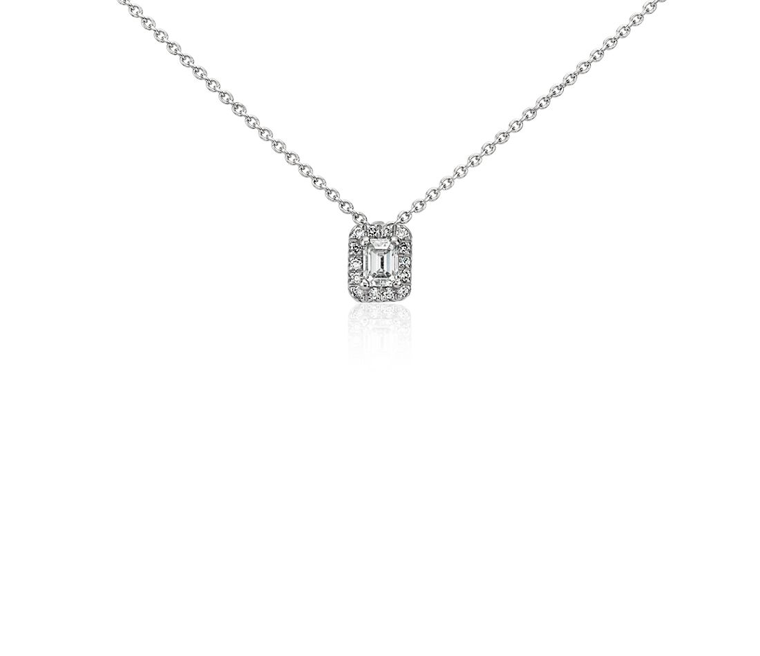 Halo Emerald-Cut Diamond Pendant in Platinum (1/3 ct. tw.)