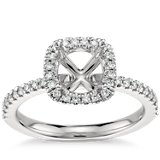Halo Engagement Ring in Platinum