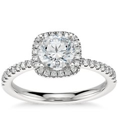 Arietta Halo Diamond Engagement Ring in Platinum