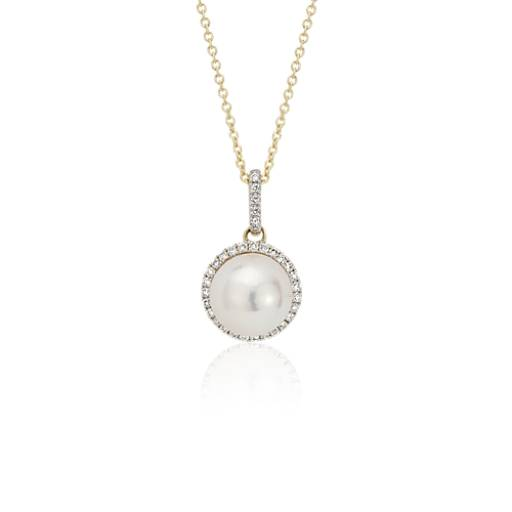 Akoya Cultured Pearl and Diamond Halo Pendant in 14k Yellow Gold (8mm)