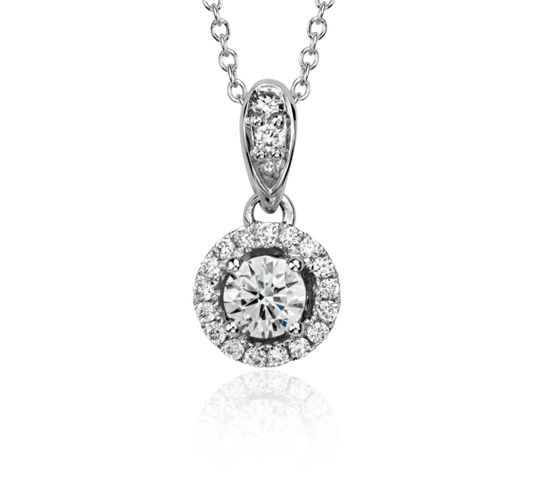 Diamond Halo Pendant in 18k White Gold (1/3 ct. t.w)