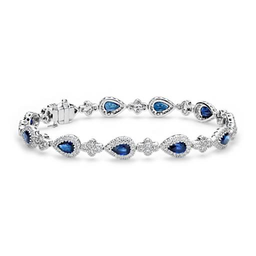 Bracelet de diamants sertis pavé et saphir bleu ovale en or blanc 18carats (6x4mm)