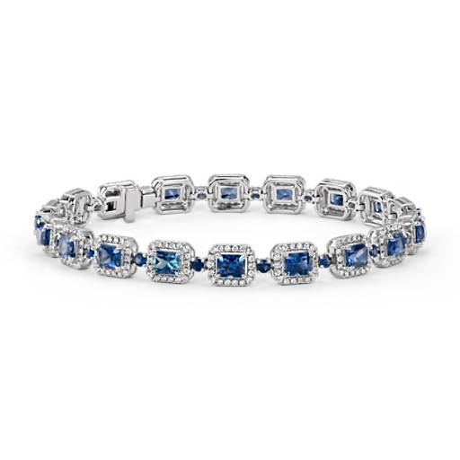 Bracelet halo de diamants et saphir taille radiant en or blanc 18 carats (4,5 x 3,6 mm)