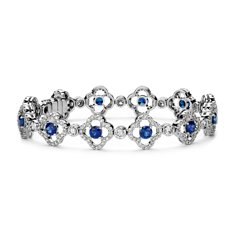 Quatrefoil Sapphire and Pavé Diamond Halo Bracelet in 18k White Gold