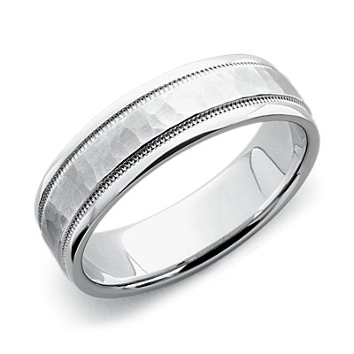 Hammered Milgrain Comfort Fit Wedding Ring in 14k White Gold (6mm)