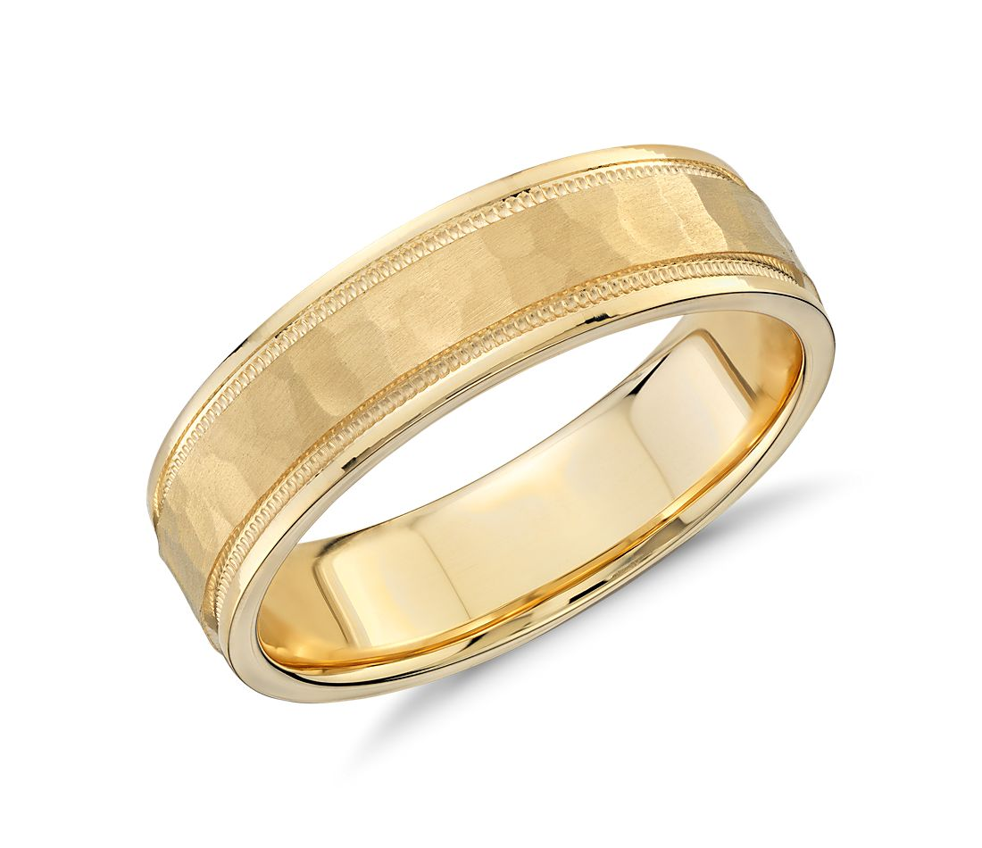 Hammered Milgrain Comfort Fit Wedding Ring in 14K Yellow Gold (6mm)