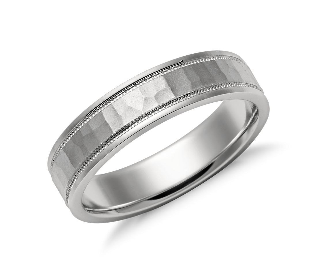 Hammered Milgrain Comfort Fit Wedding Ring In Platinum 5mm Blue Nile