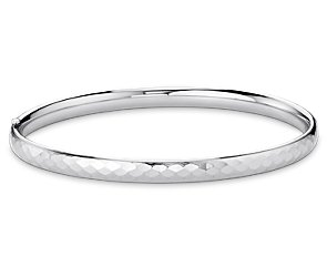 Hammered Finish Bangle Bracelet in Sterling Silver
