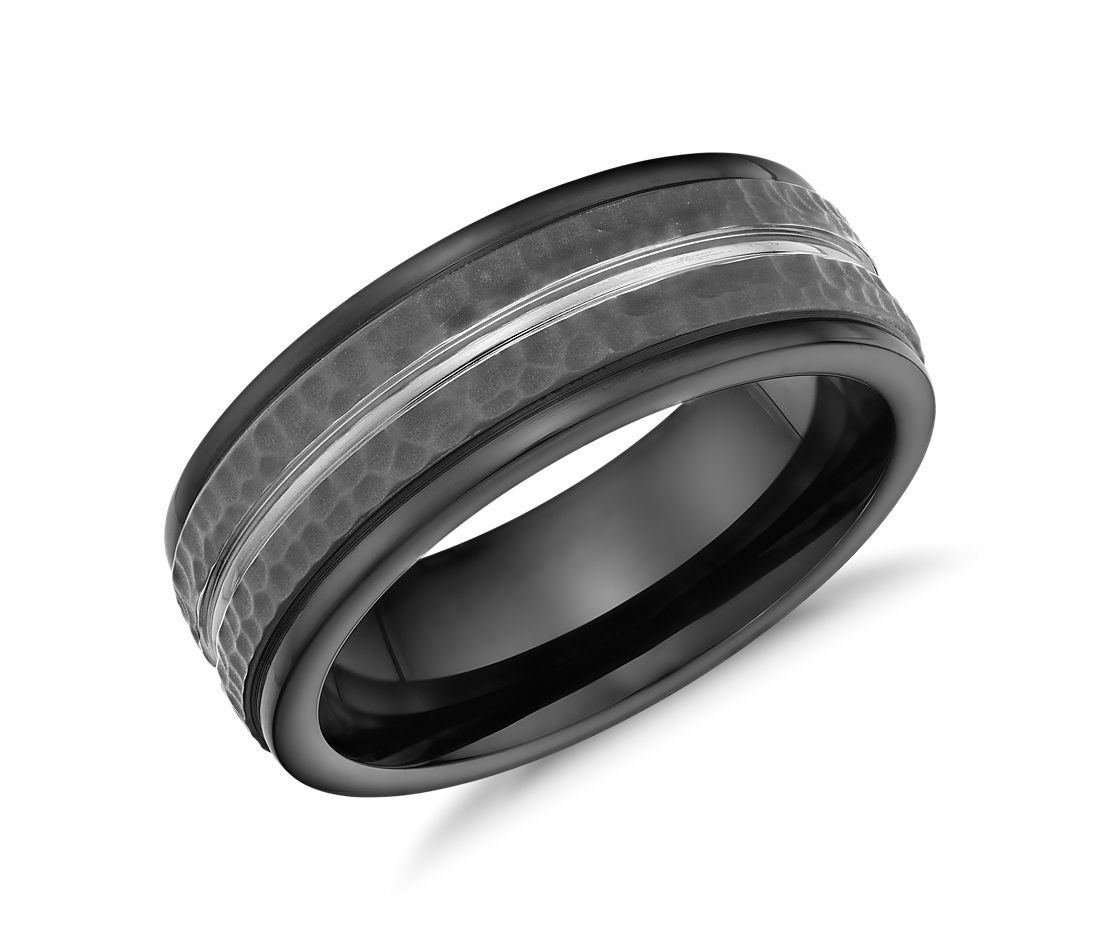 Hammered Finish Wedding Ring in Blackened Cobalt (8MM)