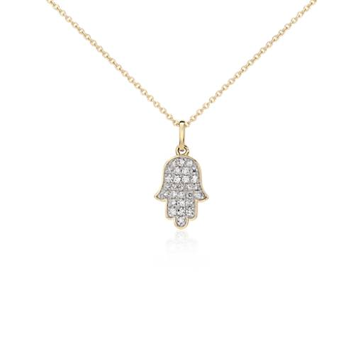 Mini Hamsa Diamond Pendant in 14k Yellow Gold